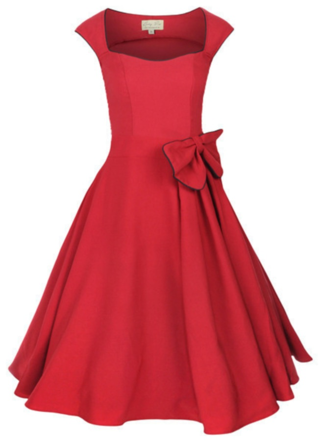 Crimson Dress with a Bow 53.37 Kb