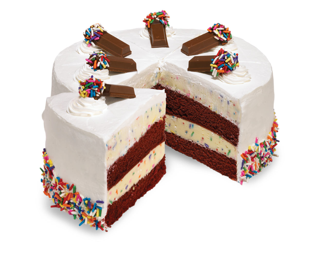 Cut Cake with Sprinkles