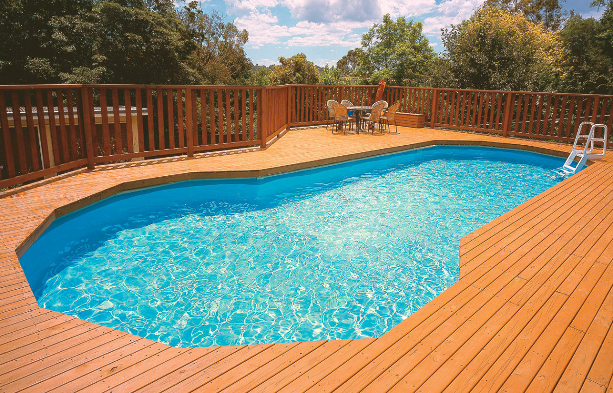 Pool on Wooden Deck