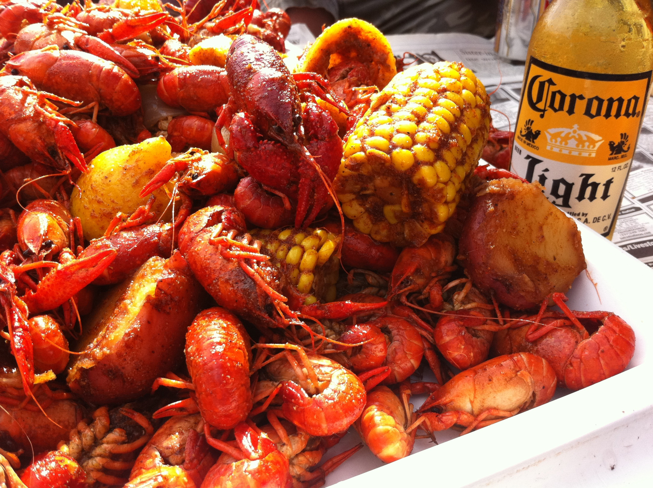 Boiled Crawfish with Corona Beer