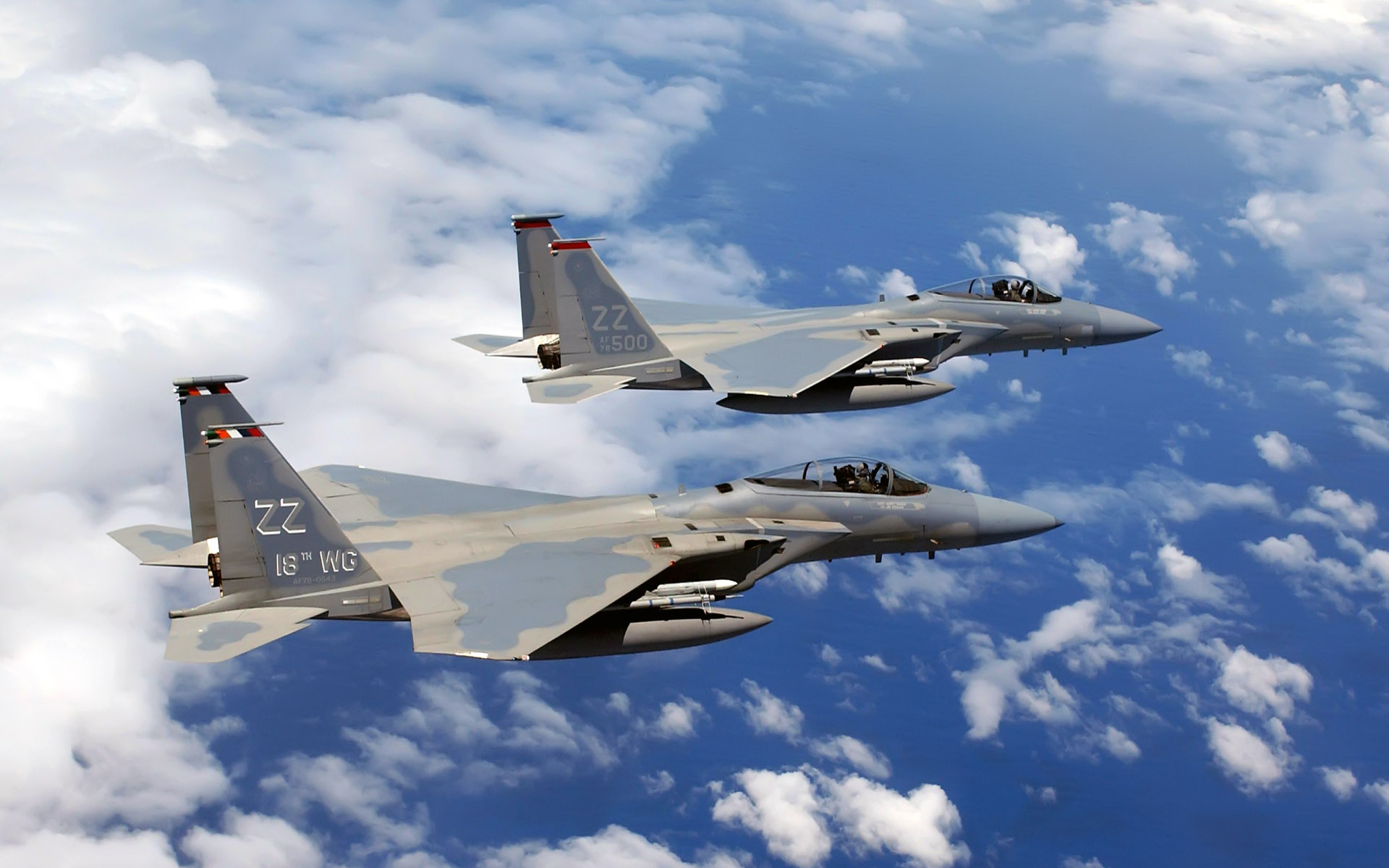 F 15C Eagles flies Over Okinawa