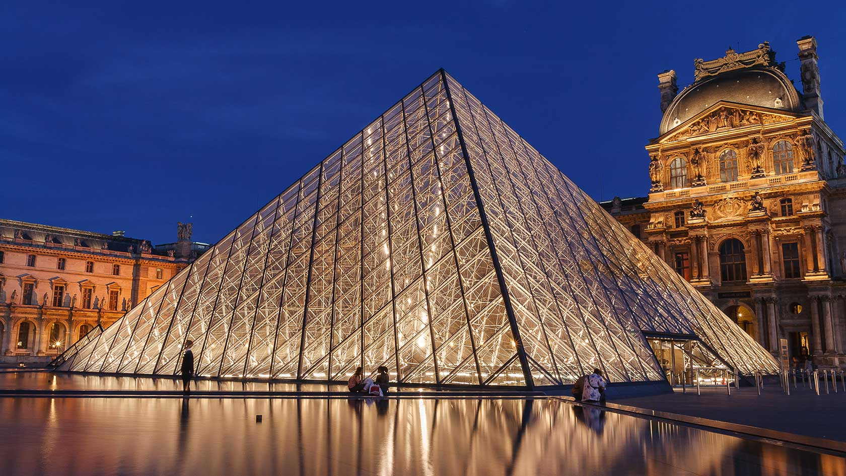 France, The Louvre Palace and the Pyramid