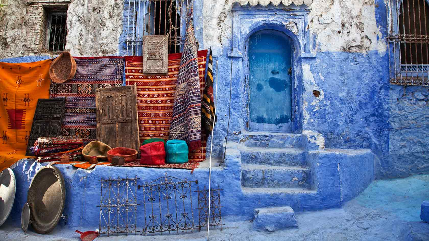 Blue Walls of Buildings in Morocco 399.47 Kb