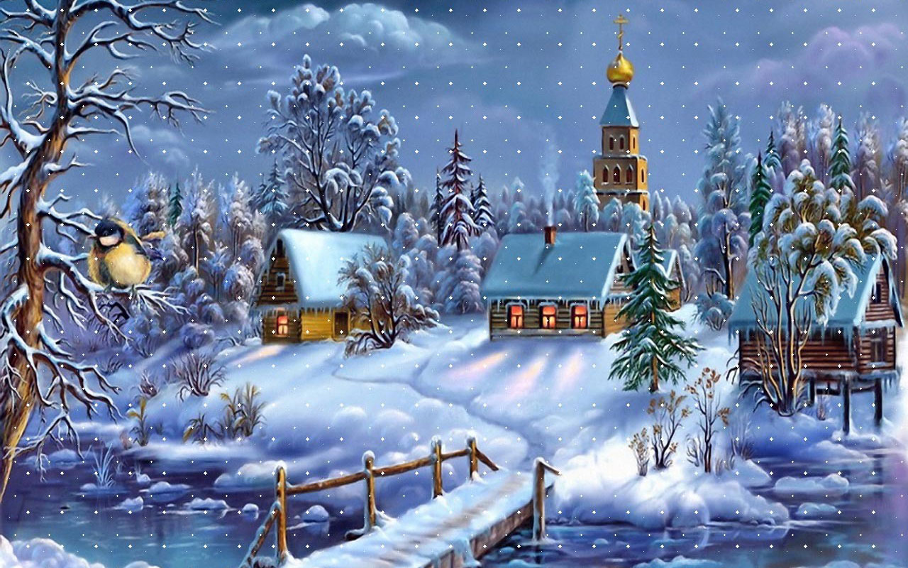 Snowy Images Of Christmas Evening 1577.79 Kb