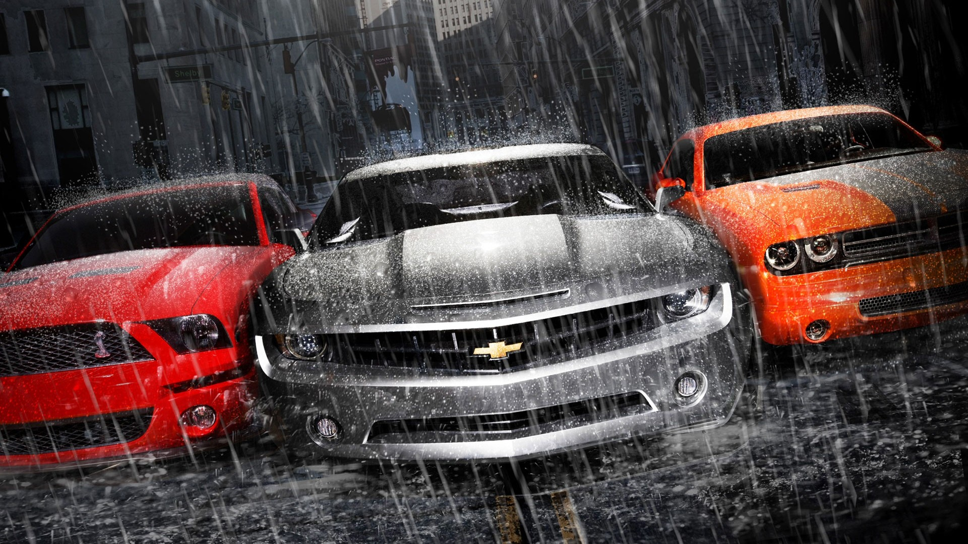 Chevrolet Cars in the Rain Wallpaper HD