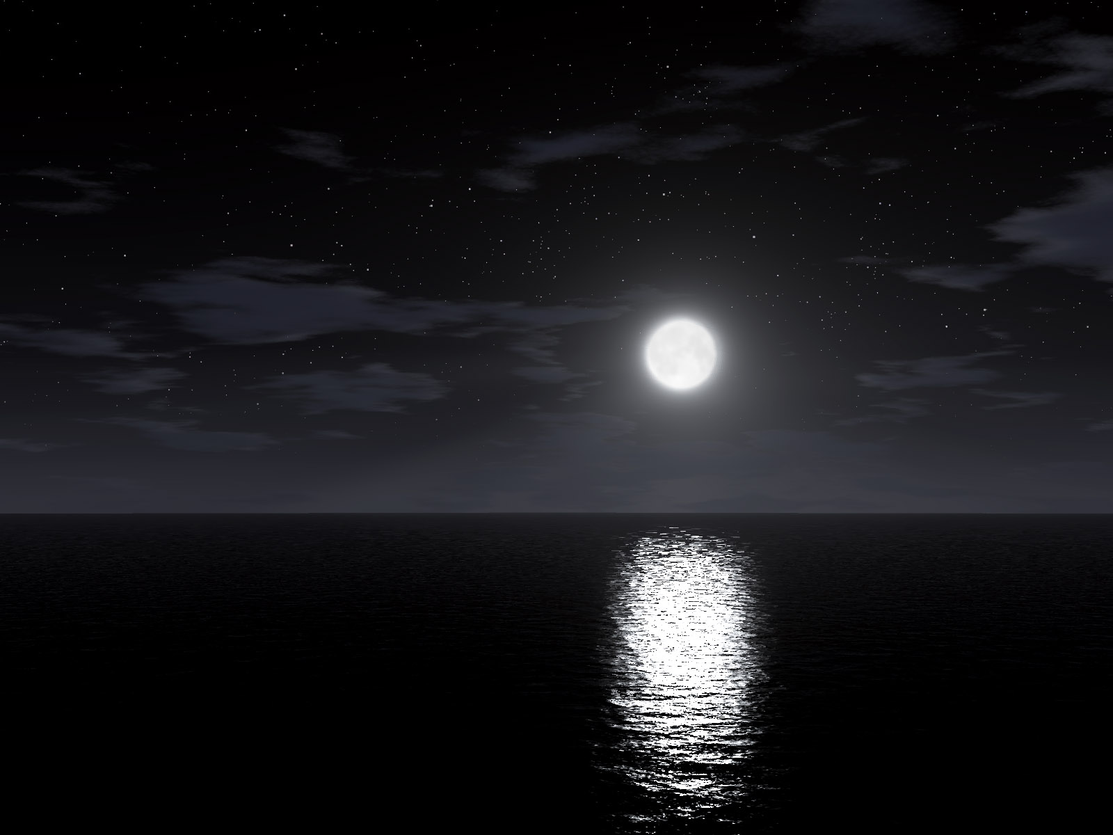 Moon Reflection in the Sea at Night  258 Kb