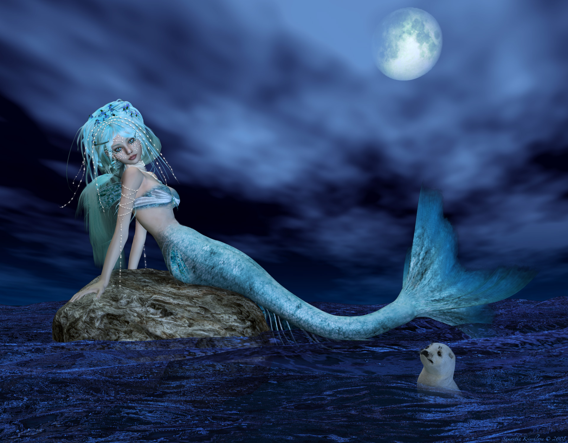 Anime Mermaids at Night 730.22 Kb