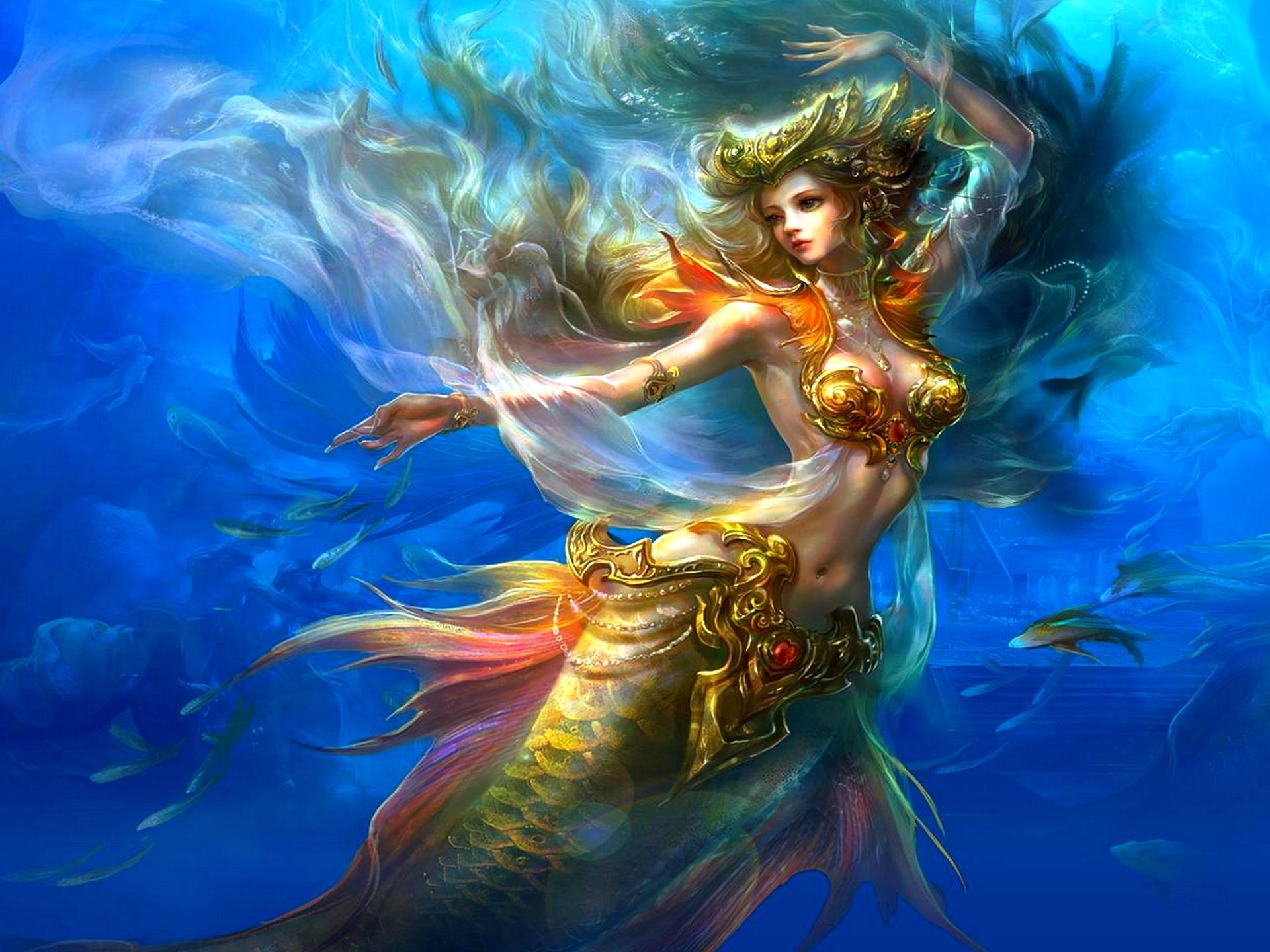 Anime Mermaids Warrior 730.22 Kb